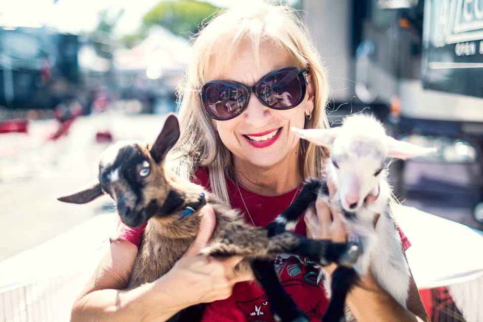 Roxie Banker and her 2 baby goats